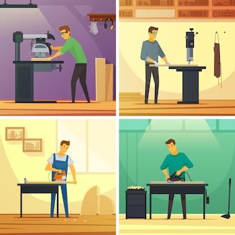 Carpintería de carpintería servicios 4 iconos planos composición cartel
