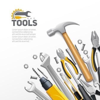 Carpintería construcción y renovación de casas herramientas realista composición fondo cartel