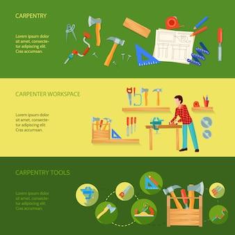 Carpintería herramientas área de trabajo y actividad ejemplo concepto tres banners horizontales vector ilustración