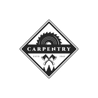 Carpintería madera trabajo logo retro vintage vector ilustración