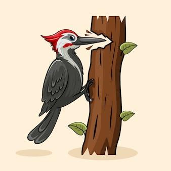 Carpintero de dibujos animados lindo pájaro