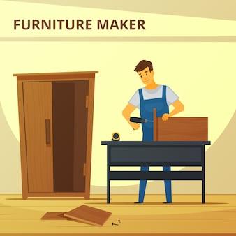 Carpintero ensamblando mueble plano poster con joven profesional.
