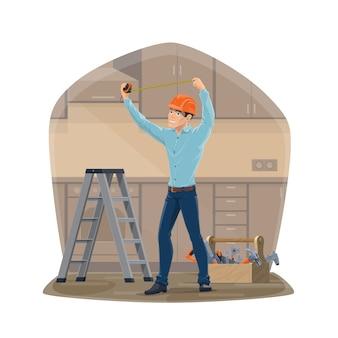 Carpintero o personal de mantenimiento con herramientas de reparación de la casa