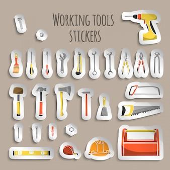 Carpintero trabajando herramientas pegatinas