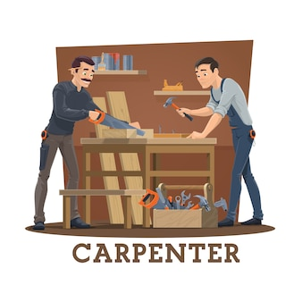 Carpinteros en taller con herramientas de carpintería