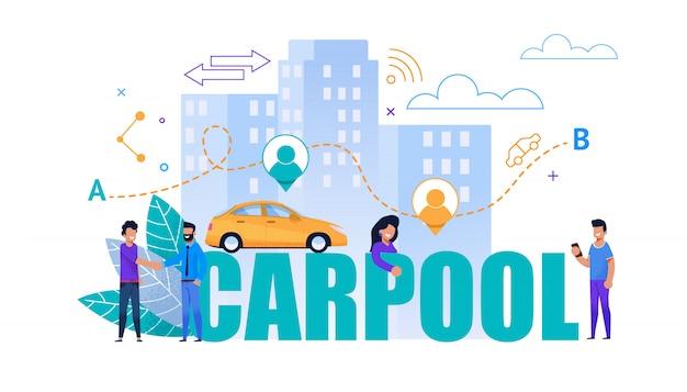 Carpool flat banner. cooperación de transporte