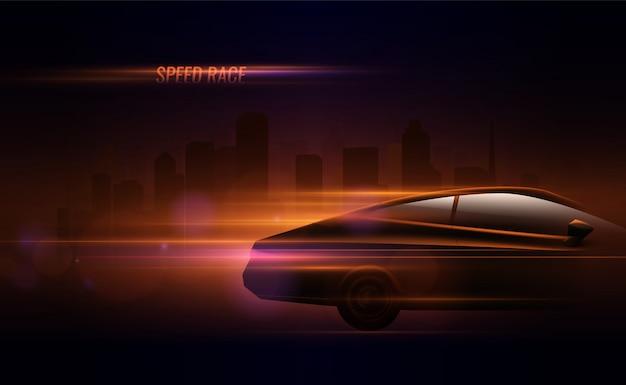 Carrera de alta velocidad hatchback coche luces traseras efecto de movimiento composición realista en la calle de la ciudad de noche
