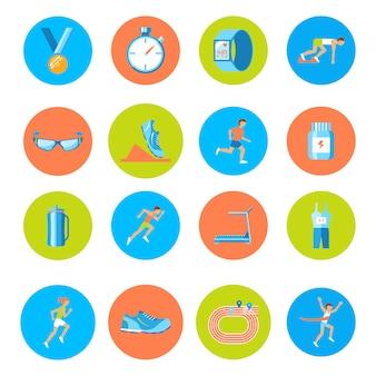 Carrera carrera deporte actividad redonda botones iconos conjunto aislado