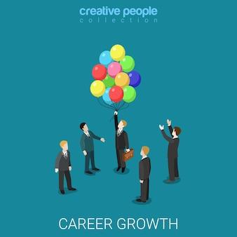 Carrera de crecimiento laboral cambio de negocio plano isométrico headhunting