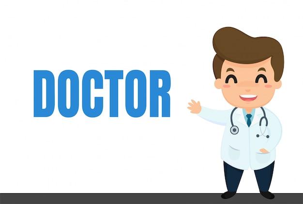 Carrera de dibujos animados doctor caricatura en uniforme visitando pacientes y explicando conocimientos médicos.