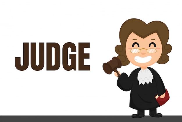 Carrera de dibujos animados jueces o abogados uniformados con decisiones judiciales.