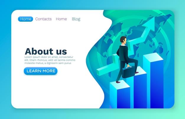 Carrera escaleras oficina hombre de negocios, marketing de éxito financiero, diseño web empresarial