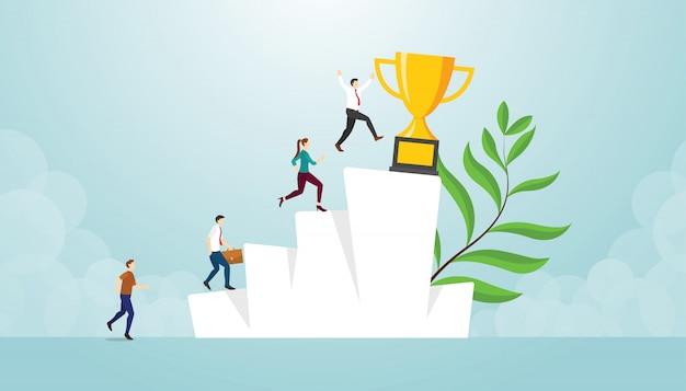 Carrera de éxito competencia empresarial con gran trofeo de oro en las escaleras de la colina con estilo plano moderno