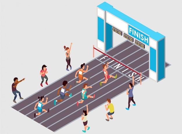 Una carrera de maratón con varios participantes de género. ilustración isométrica