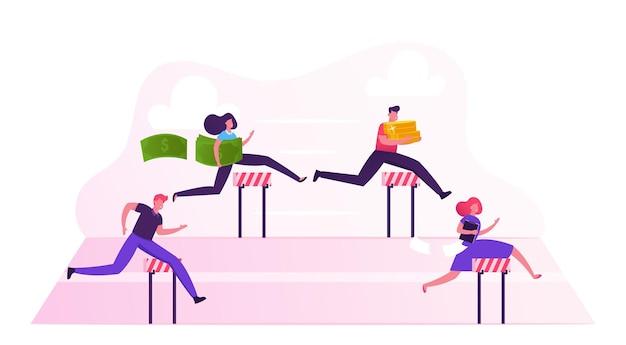 Carrera de obstáculos de personajes de gente de negocios. los gerentes con dinero y documentos saltando barreras en el estadio corriendo por fila. ilustración plana de dibujos animados