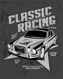 Carreras clásicas, ilustración de un coche deportivo clásico.