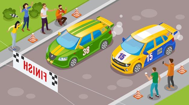 Carreras deportivas con autos deportivos en los símbolos de inicio isométricos