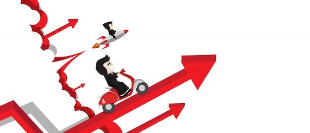 Las carreras entre el empresario en el cohete y la motocicleta se lanzan con la tabla de crecimiento, el personaje de diseño plano, el elemento de ilustración, el concepto de inversión