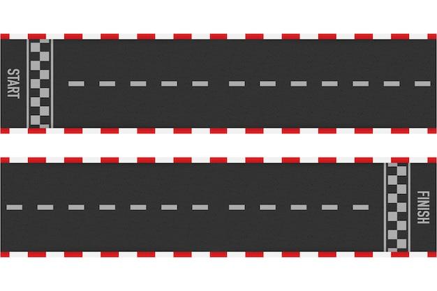 Carreras de rally línea de pista o señalización vial. carreras de coches o karting. ilustración.