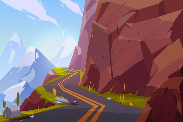Carretera de asfalto de montaña, sinuosa carretera vacía y sinuosa en paisaje rocoso paisaje de verano.