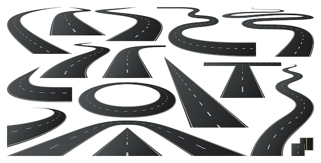 Carretera de carrera al horizonte carreteras de asfalto carretera de giro y curva de largo