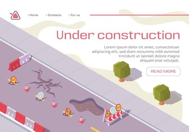 Carretera en construcción reparación banner horizontal