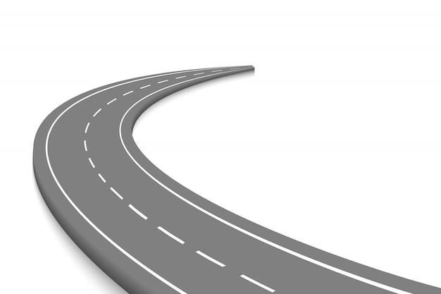 Carretera curva sinuosa aislada