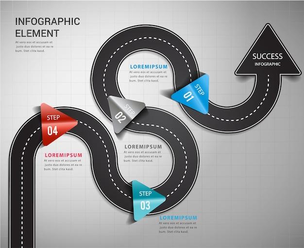 Carretera flecha línea de tiempo camino hacia el éxito.