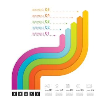 Carretera infografía negocio de infografías con 5 pasos.