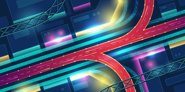 Carretera de intercambio de transporte en vista superior de la ciudad de neón de noche