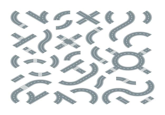 Carretera isométrica. mapa de la calle, camino de la ciudad, formas, cruce, camino, marcado, circular, movimiento, viaje, símbolos