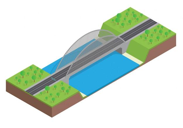 Carretera isométrica en el puente sobre el río.