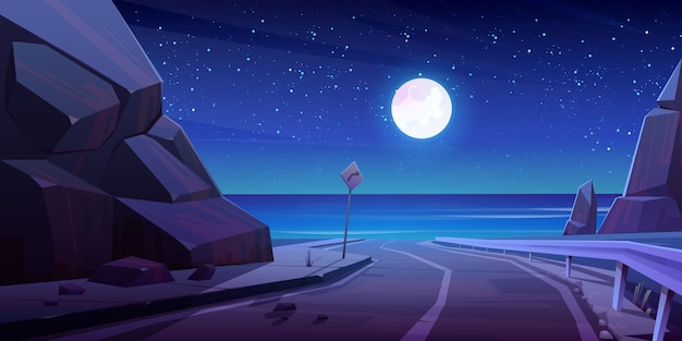 Carretera de montaña con vista nocturna al mar, carretera vacía