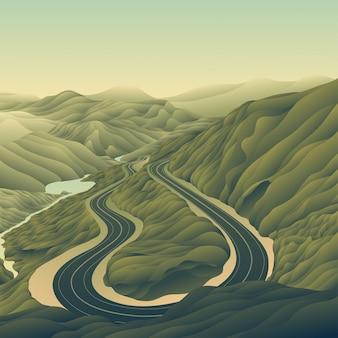 Carretera paisaje de montaña