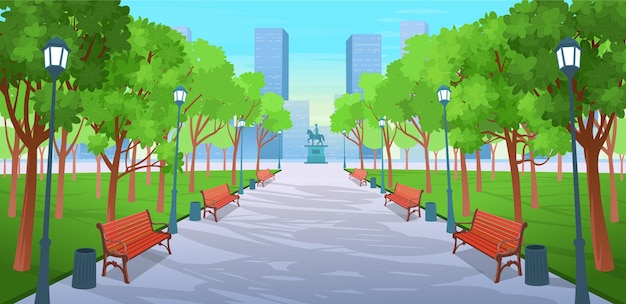Carretera panorámica sobre el parque de verano con bancos, árboles, linternas y un monumento. ilustración de vector de calle de la ciudad de verano en estilo de dibujos animados.