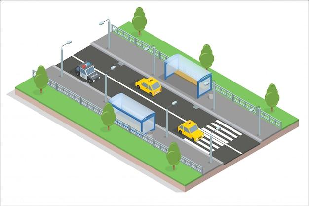 Carretera con parada de autobús y coches.