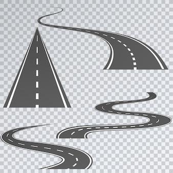 Carretera con rayas blancas sobre un plaid, conjunto de rutas curvas.