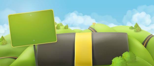 Carretera y señal. fondo de paisaje de naturaleza de dibujos animados