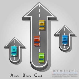 Carretera de tráfico con coches, ubicación de la flecha de carretera. ilustración vectorial