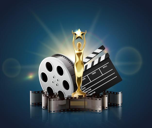 Carretes de bandas de película de composición realista con luces brillantes y premio de estatuilla dorada con badajo y bobina