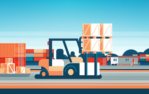 Carretilla elevadora cargador de paletas apiladoras camión equipo almacén concepto de entrega internacional plano horizontal