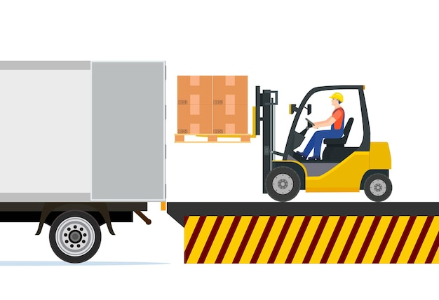 Carretilla elevadora cargando cajas de paletas en el camión.