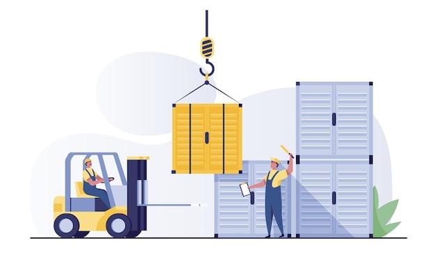 Carretilla elevadora y contenedor de carga o contenedor de envío para el almacenamiento de envíos y transporte de productos de mercancías.