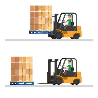 Carretilla elevadora con contenedores y palets de madera. ilustración vectorial de almacén