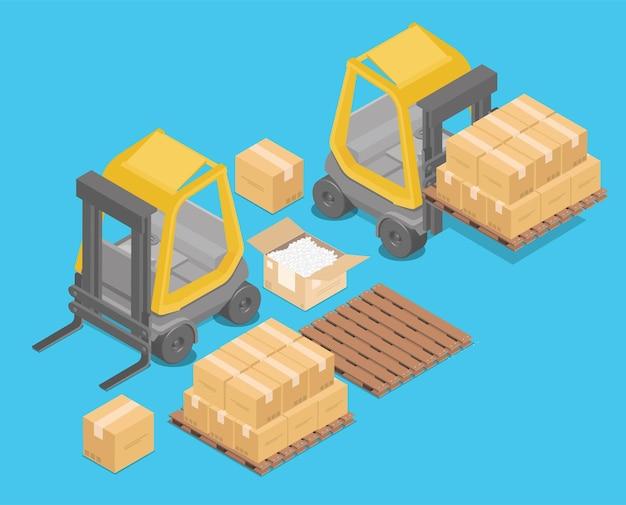 Carretilla elevadora isométrica para levantar y transportar mercancías., racks de almacenamiento., palets con mercancías para infografías, ilustración 3d