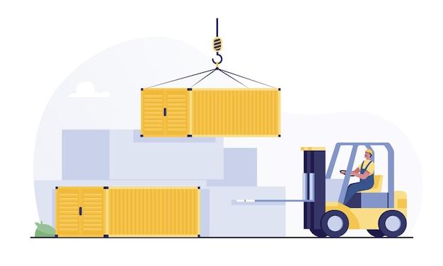 Carretilla elevadora levantando un contenedor de carga en almacenamiento