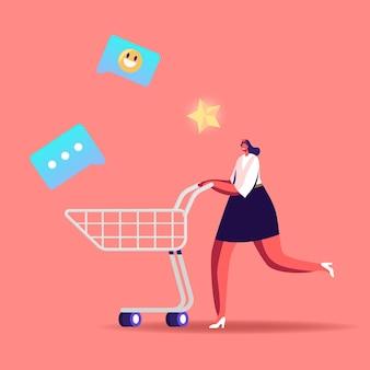Carretilla de empuje alegre de personaje femenino adicto a las compras con iconos de medios alrededor.