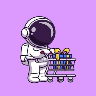 Carretilla de empuje de astronauta lindo con ilustración de icono de dibujos animados de regalo. concepto de icono de negocio de ciencia aislado. estilo de dibujos animados plana