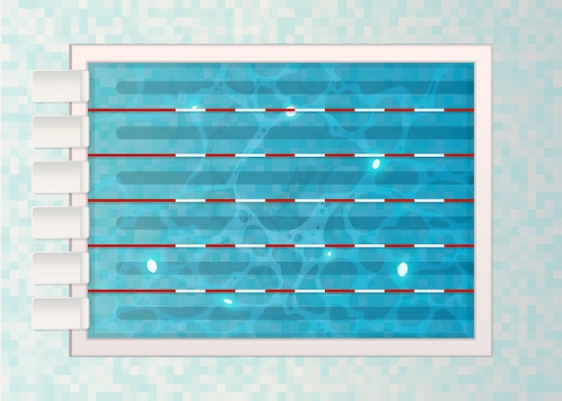 Carriles de natación con tranplines en la piscina