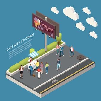 Carrito con cartelera ilustrada isométrica de helado con texto sabor refrescante y gente comprando comida congelada